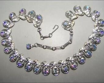 Vintage Coro Blue Aurora Borealis Silver Tone Necklace