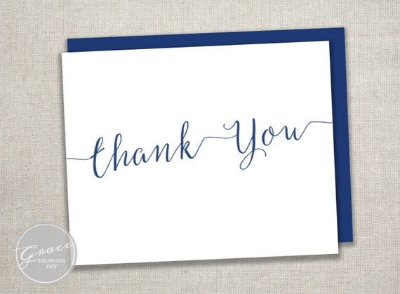 Navy Blue Calligraphy Script Thank You Card Folded A2