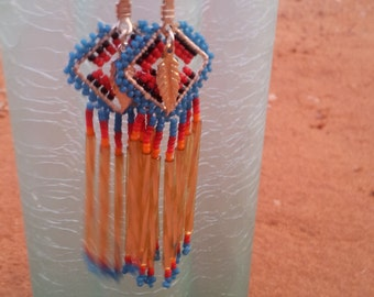 Beaded Earrings with Silver Feather