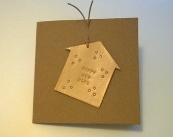 New Home Card. Handmade Leather Card. Hand embossed and punched. Embossed message can be personalised..