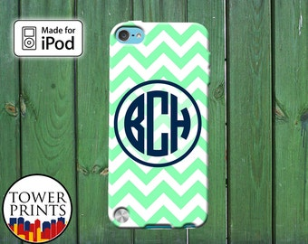 Mint Chevron Pattern Navy Blue Initials Custom Monogram for iPod Touch 4th Generation and iPod Touch 5th Generation Gen Plastic Rubber