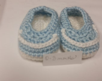 Baby Loafers - Light Blue and White
