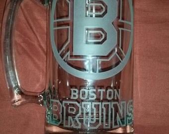 Boston Bruins Sand Carved Glass Sport Mug 26.5 Oz