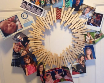Clothes pin picture wreath