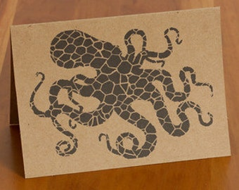 FREE SHIPPING!! Octopus Webbing Design Handmade Card
