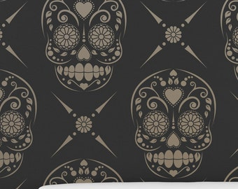 CANDY SKULL / Sugar Skull All over Wallpaper Stencil / Reusable  / DIY / Home Decor / Interiors / Feature Wall / Wallpaper alternative