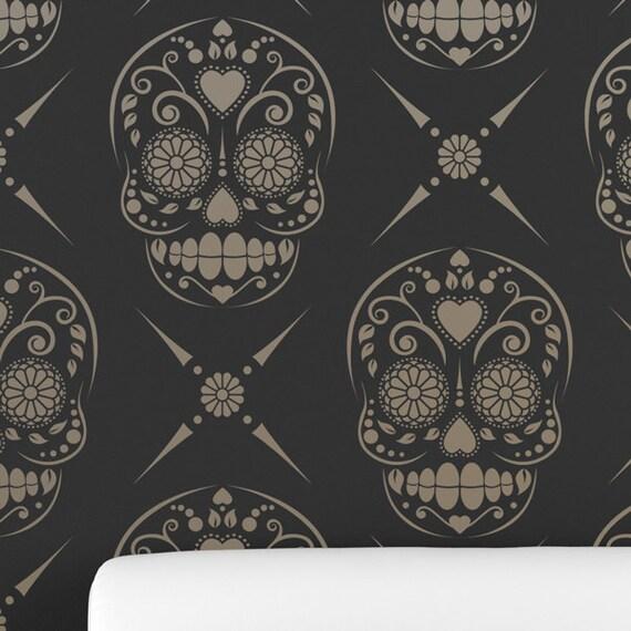 CANDY SKULL / Sugar Skull All over Wallpaper Stencil • Reusable ...