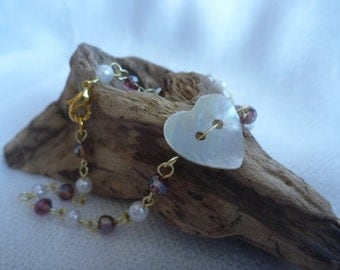 Heart shell button bracelet with purple and pearl beads