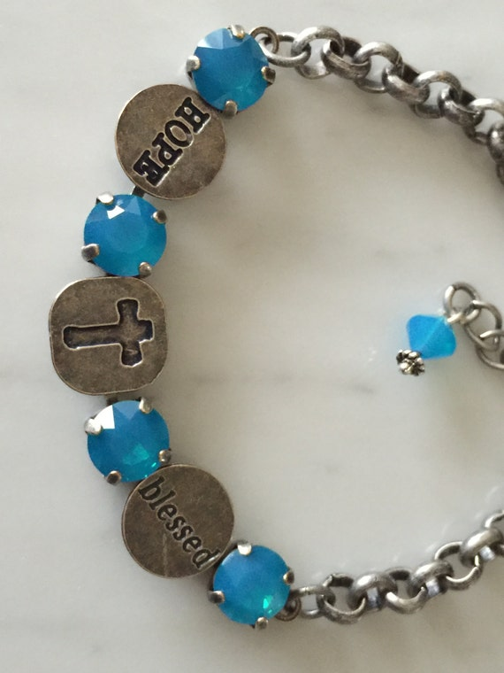 Blessed Bracelet with Caribbean Blue Opal Crystals, in Antique Silver