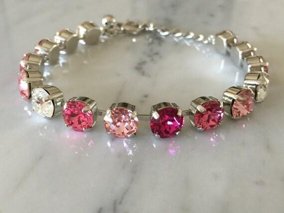 Swarovski Rose Crystal Bracelet, Rose Crystal Bracelet, Crystal Tennis Bracelet, Pink Crystal Bracelet