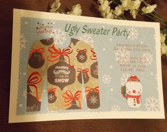 ugly sweater party Christmas invitation card with envelope