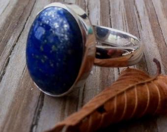 Lapis Ring Lapis Lazulli Ring Oval Lapis Statement Ring Blue Lapis Ring Bezel Ring Artisan Ring Gift For her Size 7, 8,9,10,11