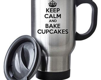 Keep Calm and Bake Cupcakes Travel Mug Thermal Stainless Steel Gift Baker Cupakes Christmas Birthday Thermal