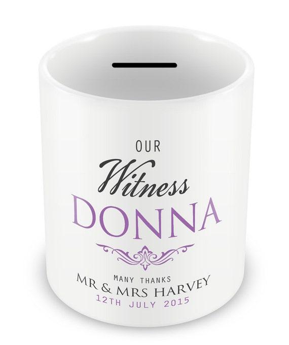 Wedding Witness Gifts: Personalised Wedding Money Box Witness Gifts Thank You