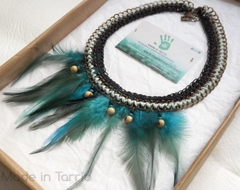 Bib necklace with turquoise feathers and seeds