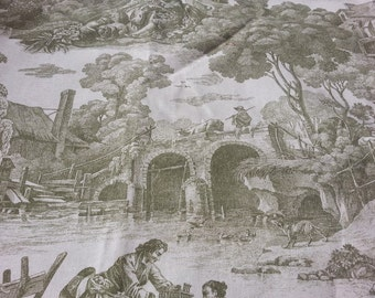 1 7/9 yds Sage Green Toile Fabric by Waverly, 1st