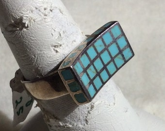 Concave Rectangle Turquoise Enamel Squares Sterling Silver Ring Size 7.75