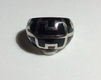 Abstract Chevron Black Enamel Sterling Silver Ring Size 9.25