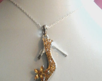 Cute yellow one of a kind high heel shoe necklace