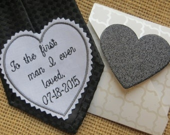 FAST SHIPPINg!!! Rustic wedding ideas-Tie Patch-Tie Patches-Necktie label-Father of Bride-Embroidered Wedding Gift For DAD or GROOM
