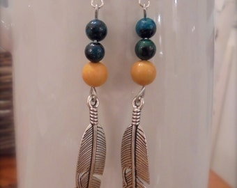 yellow turquoise and yellow jade surgical steel feather earrings