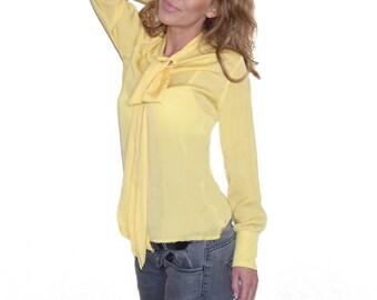Yellow oversize loose plus size chiffon women shirt