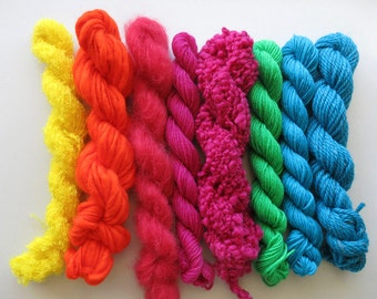 Yarn pack for knitting, crochet, weaving or felting. Wool, kid mohair - Vibrant Mix