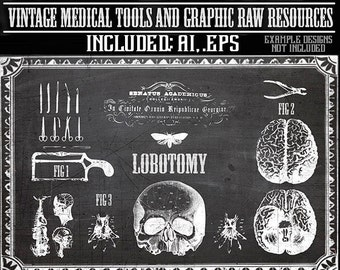 Vintage Medical Vectors for easy drag & drop to your projects - Old medical tools, symbols, graphics