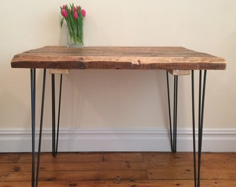 Reclaimed Wood Kitchen Table from Thick Salvaged Beams, Steel Hairpin Legs