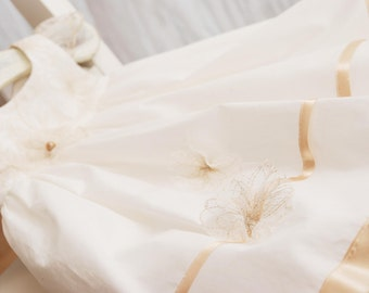 baby flower dress, ivory baby dress, cotton, for baptism, communion and other occasion