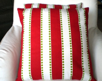 Red Green Christmas Pillow Cover, Decorative Throw Pillows, Cushion Covers, Holiday Pillows, Red Green White Stripe, One or More All Sizes