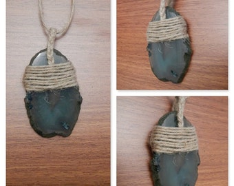 Natural Hemp Wrapped Green Agate Geode Slice Necklace