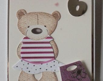 Girl's birthday card. Card for a girl. Numeric birthday card. Custom birthday card. Age birthday card. Child's birthday. Teddy bear card