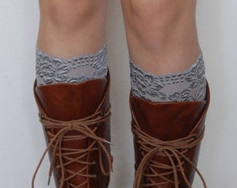 Lace Boot Cuffs - Gray