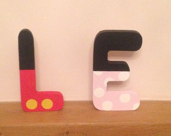 Minnie mouse and mickey mouse inspired letters