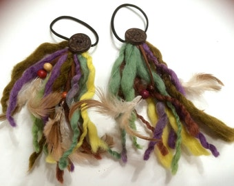 Unique and Colorful Felt ponytail holder  decorated with beads and bell.