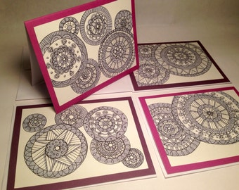 "4- Hand drawn notecards. Size 4 1/4""x 5 1/2"". Blank inside."