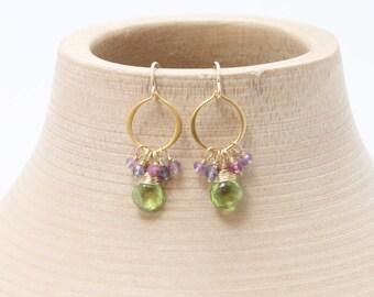 Gemstone Earrings, Gold Earrings, Peridot Earrings, Dangle Earrings, Hoop Earrings, Amethyst Earrings, Iolite Earrings, Garnet Earrings