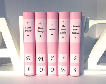 Personalized gift - new book set - 5 children's classics - custom covers - custom book jackets - pink series - instant library