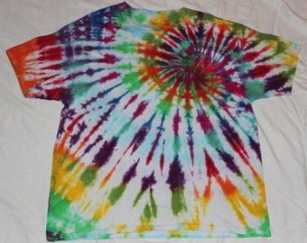 Tie Dye Rainbow Spiral Short Sleeve T Shirt Size XL
