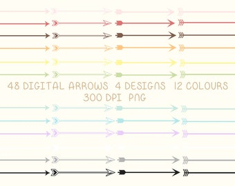 Arrows Clipart Clip Art Png Digital Printable Instant Download Web Design Card Invitation Colourful Scrap