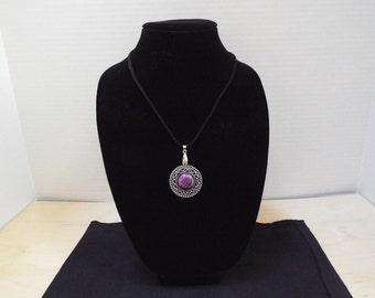 Charm Necklace, Dark Purple and Silver Pendant Black Leather Necklace, Sun / Moon Pendant
