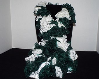 Team Spirit Crochet Ruffled Scarf, Handmade Ruffle Team Spirit Green and White Lacy College Football