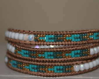 Leather Wrap bracelet, 3 layer Miyuki delica and facet beads