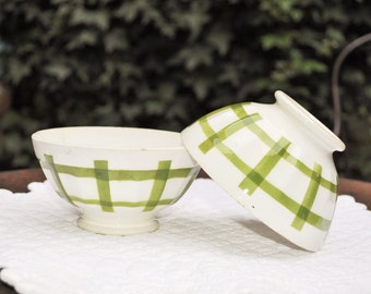 Digoin - Two vintage French cafe au lait bowls - green and white - faceted bowls
