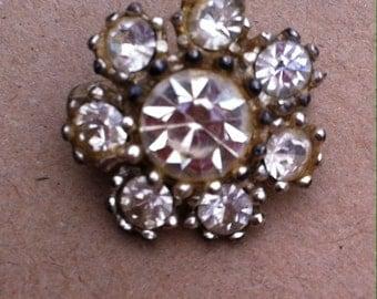 Vintage 1920s art deco crystal brooch pin antique vintage retro jewellery jewelry