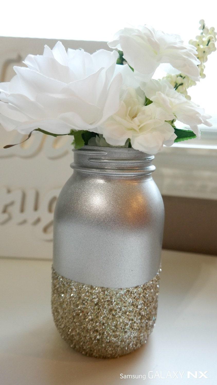 Silver gold glitter centerpiece mason jar by
