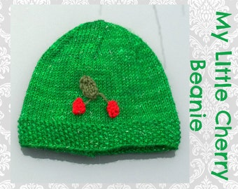 My Little Cherry Baby Beanie Knitting Pattern