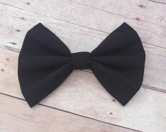 Solid Black Fabric Hair Bow Clip  or Headband / Black Hair Bow Clip / Solid Black Bow / Black Hair Bow / Black Bow Clip / Black Bow Headband