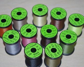 UNI 8/0 Fly Tying or Craft Thread 200 yard Spools